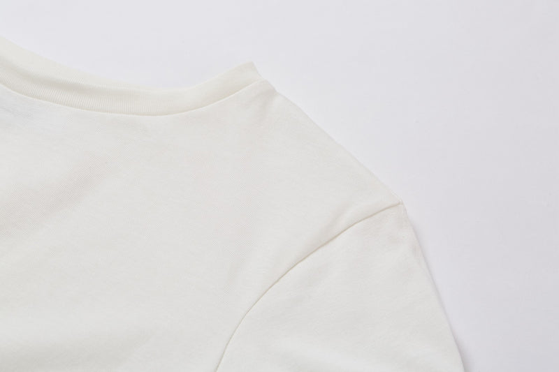 White Cotton Knotted Crinkled T shirt - AMNUE