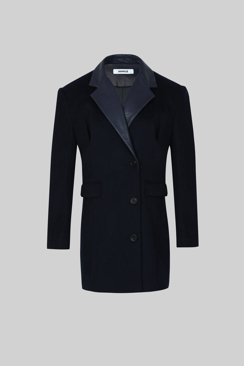 Navy Blue Wool Blend Coat with Faux Leather Collar - AMNUE