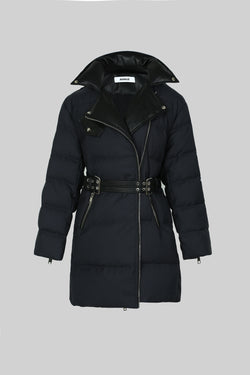 Belted Biker Down Jacket with Faux Leather Collar - AMNUE