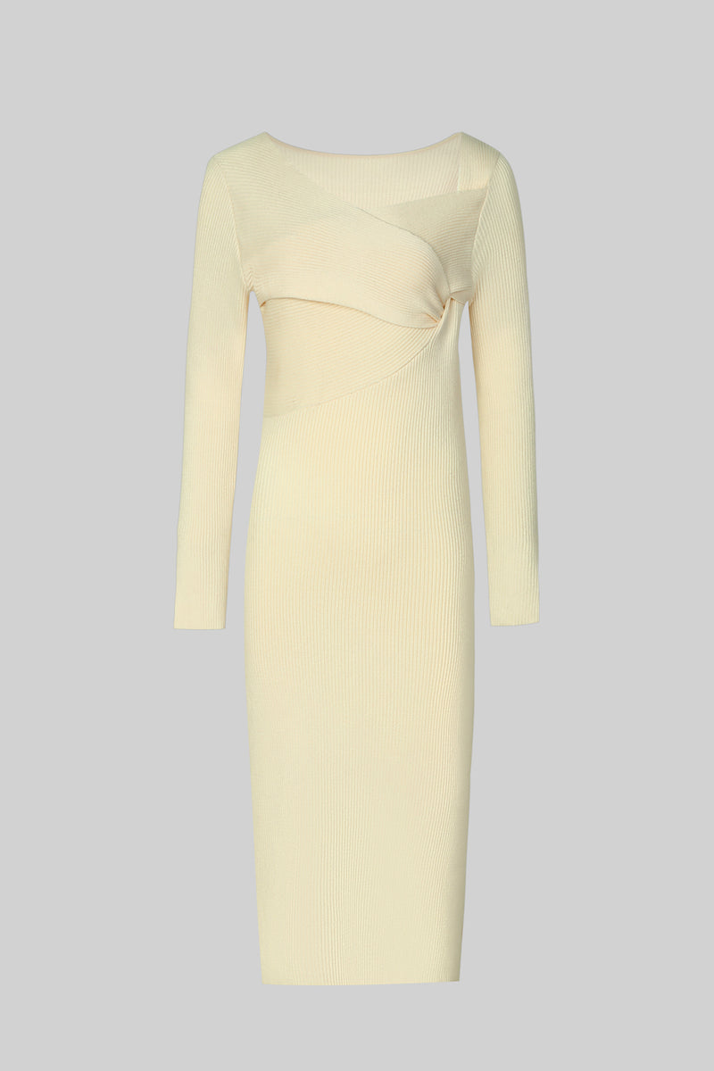 White Ribbed Knit Sweater Dress with Knot Detail - AMNUE