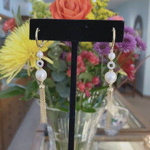 Load and play video in Gallery viewer, Diamond & Pearl Drop Tassel Earrings