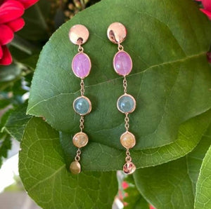 Rose Gold and Gemstone Earrings