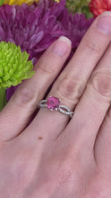 Load and play video in Gallery viewer, Pink Tourmaline & Diamond Infinity Twist Ring