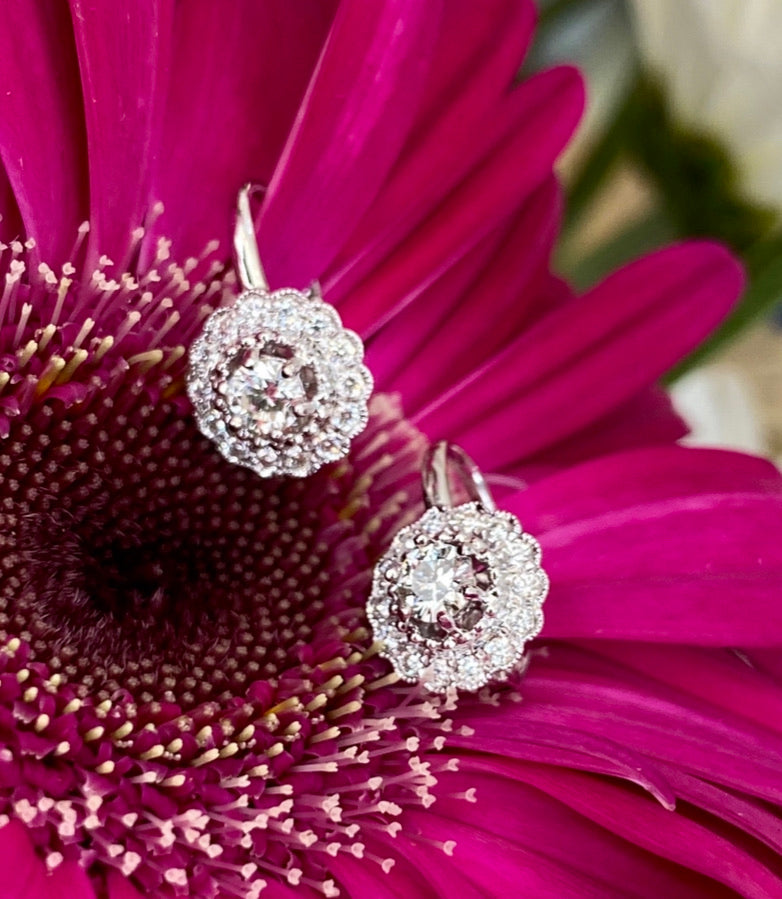 Diamond Halo Drop Earrings