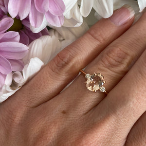 Oval Morganite & Diamond Three Stone Ring