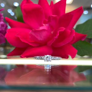Fancy Round Solitaire Engagement Ring with Filigree Scroll Work