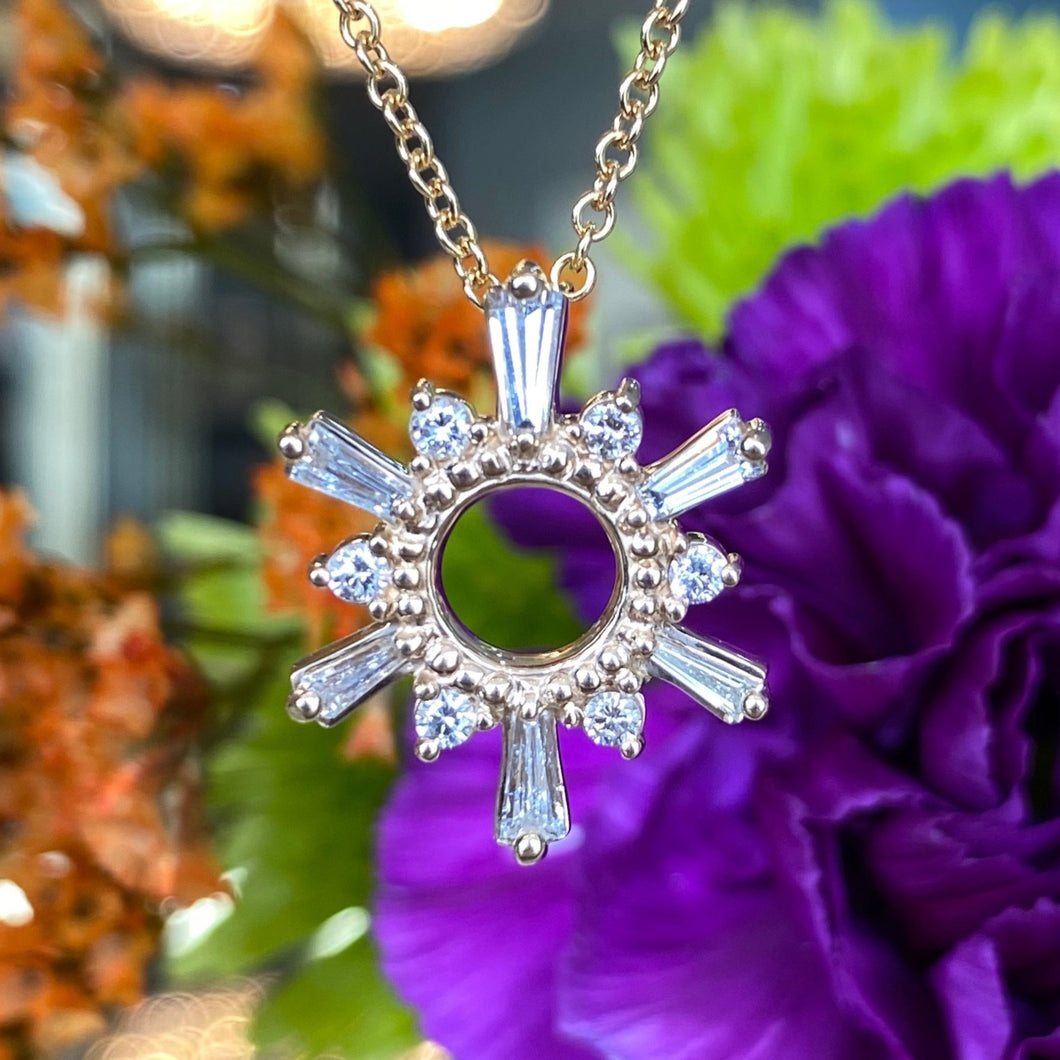 Diamond Sun Pendant and Chain