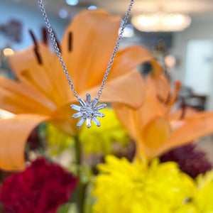 Baguette and Round Diamond Sunburst Necklace