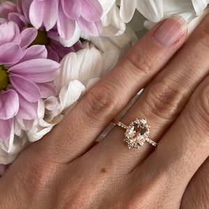 Oval Halo Morganite & Diamond Ring in Rose Gold