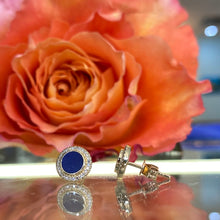 Load image into Gallery viewer, Lapis Lazuli & Diamond Disk Earrings in Yellow Gold