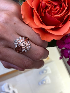 Morganite & Diamond Rose Gold Bezel Set Vintage Inspired Ring