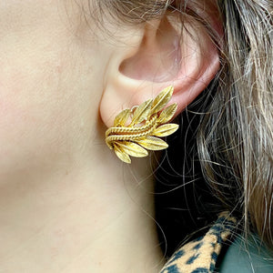 Retro 18K Leaf Clip Style Earrings