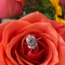 Load image into Gallery viewer, Morganite & Diamond Rose Gold Bezel Set Vintage Inspired Ring