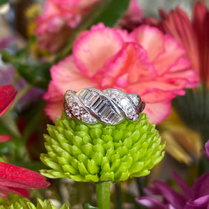 Vintage Platinum Baguette and Round Diamond Ring