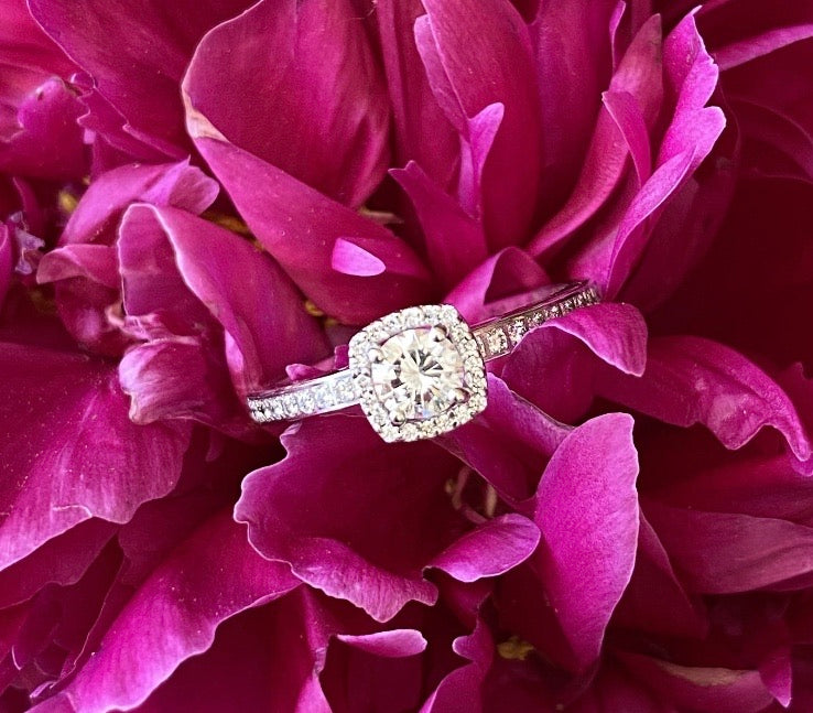Cushion Shaped Halo Round Diamond Engagement Ring