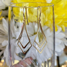 Load image into Gallery viewer, Yellow gold double diamond drop earrings