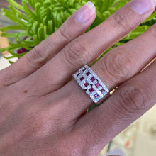 Load image into Gallery viewer, Ruby & Diamond White Gold Basket Weave Ring