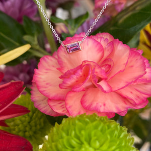 Custom Made Emerald Cut Pink Sapphire Necklace in Rose Gold