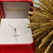 Load image into Gallery viewer, Petite Diamond Cross in White Gold