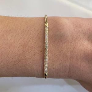 Pavé Diamond Flexible Gold Bangle Bracelet