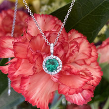 Load image into Gallery viewer, Round Emerald & Halo Diamond Pendant
