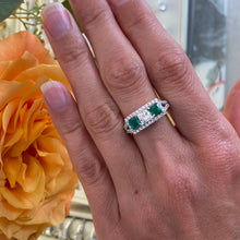 Load image into Gallery viewer, Emerald & Diamond Princess Cut Three Stone Ring