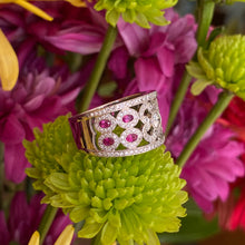 Load image into Gallery viewer, Ruby & Diamond Wide Pavé Set Band