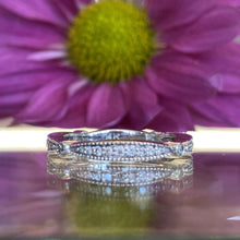 Load image into Gallery viewer, Crescent White Gold Diamond Style Band