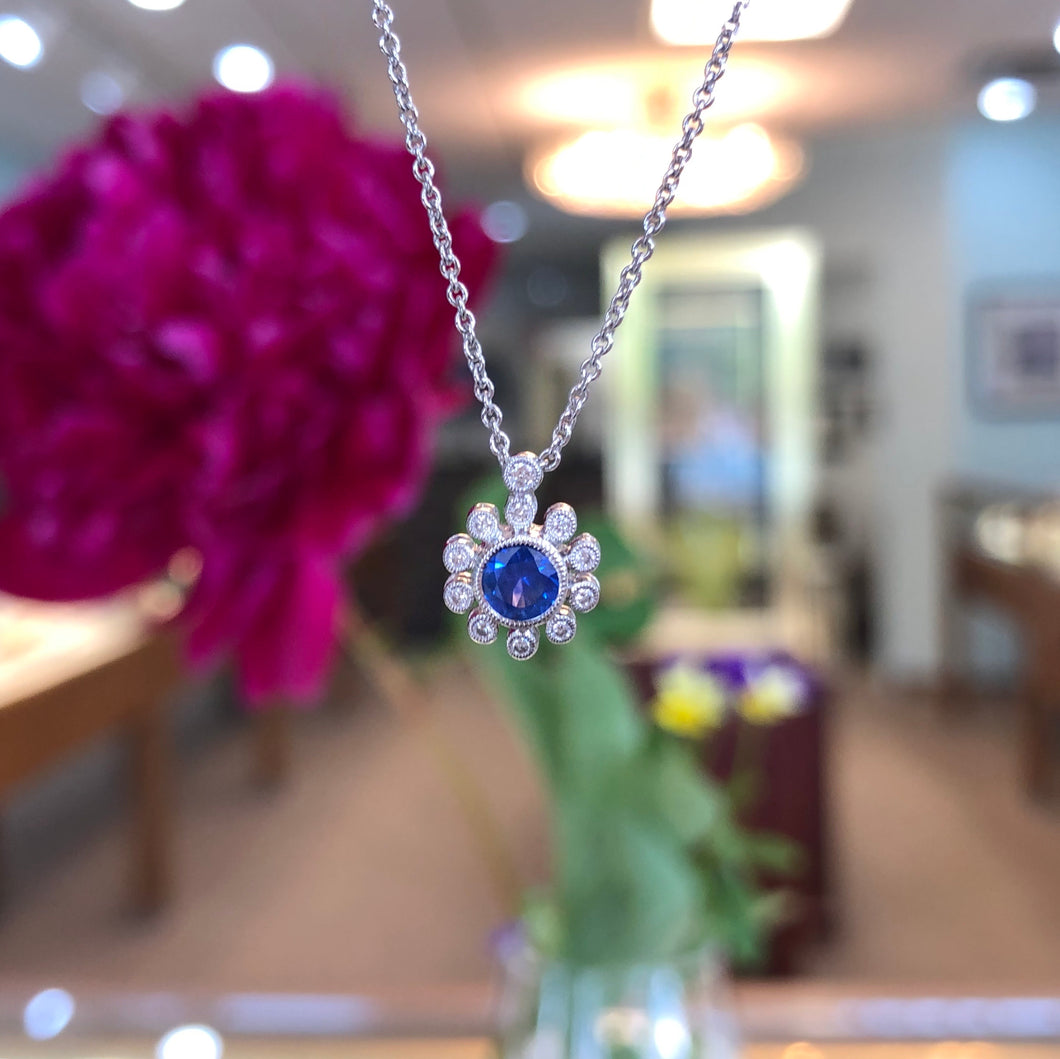 Blue Sapphire & Diamond Pendant with Chain