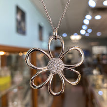 Load image into Gallery viewer, Diamond Flower Statement Necklace in White Gold