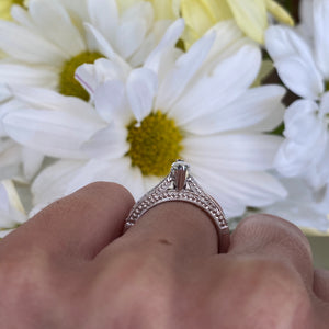 Marquise Diamond Beaded Engagement Ring