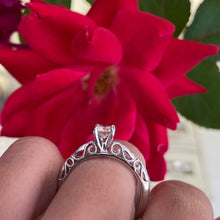 Load image into Gallery viewer, Fancy Round Solitaire Engagement Ring with Filigree Scroll Work