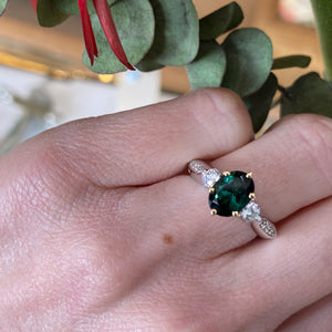 Oval Green Tourmaline & Diamond Ring