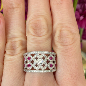 Ruby & Diamond Wide Pavé Set Band