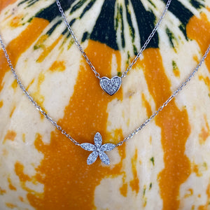 Dainty Flower & Diamond Necklace
