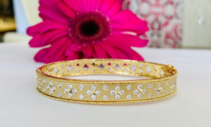 Diamond Bangle Bracelet in Yellow Gold with Satin Finish