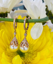 Load image into Gallery viewer, Pearl and Diamond Drop Earrings in Rose Gold