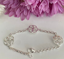Load image into Gallery viewer, Sterling Silver Triple Celtic Knot Link Bracelet