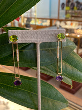 Load image into Gallery viewer, Geometric Peridot & Amethyst Earrings with Diamond Accents