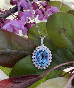 Blue Topaz & Diamond Pendant with Adjustable Chain
