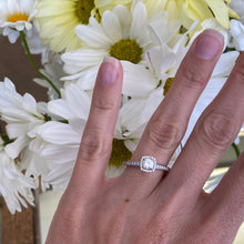 Load image into Gallery viewer, Cushion Shaped Halo Round Diamond Engagement Ring
