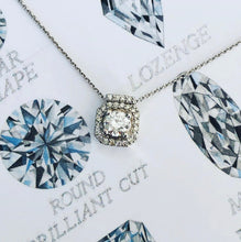 Load image into Gallery viewer, Diamond Square Halo Necklace