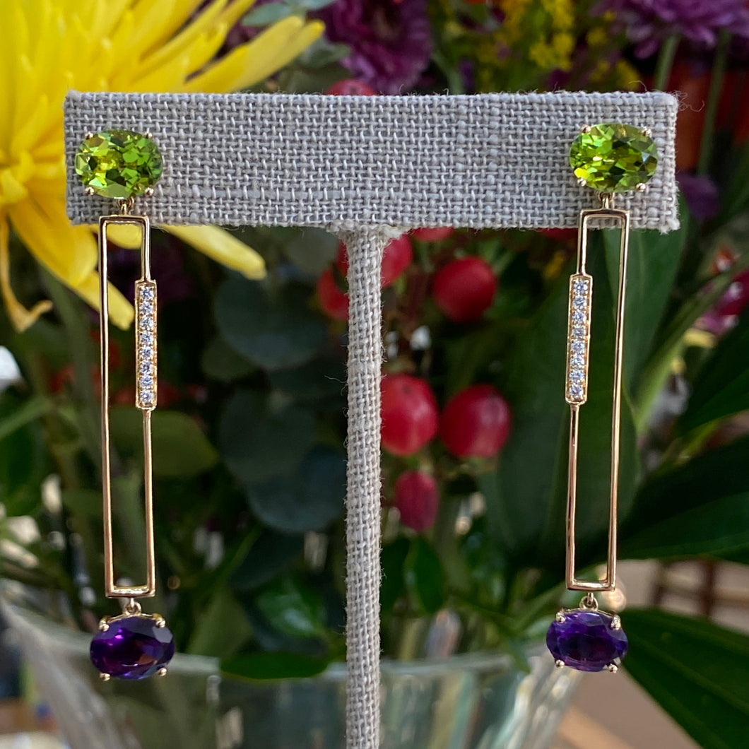 Geometric Peridot & Amethyst Earrings with Diamond Accents