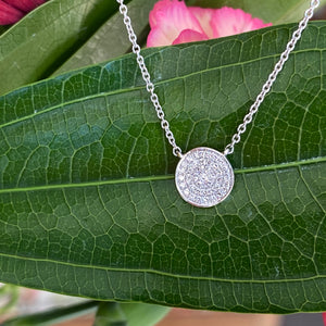 Petite Free Form Diamond Necklace in White Gold