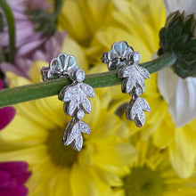 Load image into Gallery viewer, Diamond Leaf Drop Earrings
