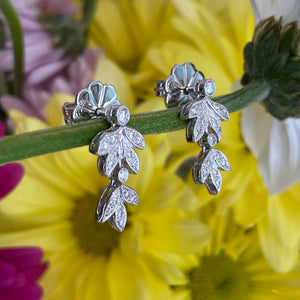 Diamond Leaf Drop Earrings