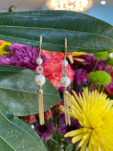 Load image into Gallery viewer, Diamond & Pearl Drop Tassel Earrings