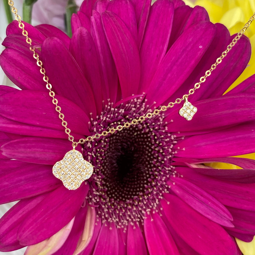Petite Pavé Diamond Necklace in Yellow Gold