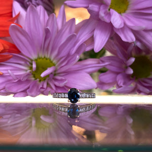 Oval Blue Sapphire & Diamond Engagement Ring