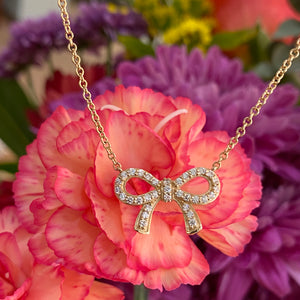 Yellow Gold Diamond Bow Necklace 🎀